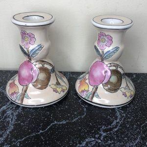 2 vintage porcelain Chinese candlesticks